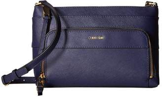 Calvin Klein Key Item Saffiano Leather Top Zip Crossbody Cross Body Handbags