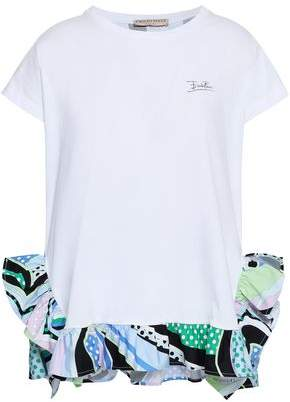 Emilio Pucci Printed Cotton Poplin-trimmed Jersey T-shirt