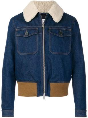 Ami Alexandre Mattiussi Zipped Denim Jacket With Shearling Collar