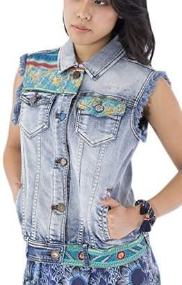 Desigual Women's Agnese Embroidered Detail Denim Jacket Medium Dark