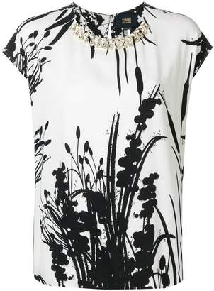 Class Roberto Cavalli embellished floral print blouse
