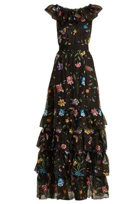 Goat Fairytale Floral Embroidered Silk Organza Gown - Womens - Black Multi