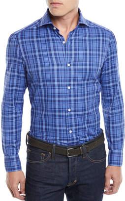 Isaia Men's Madras Plaid Cotton Sport Shirt