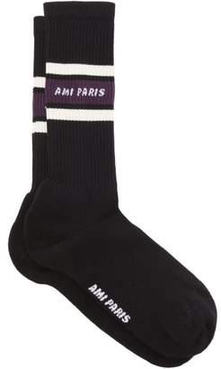 Ami Logo And Stripe Intarsia Cotton Blend Socks - Mens - Black