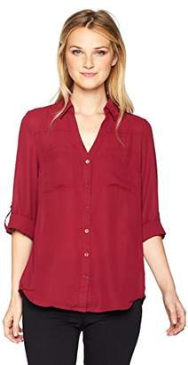 Amy Byer A. Byer Junior's Young Teen Tie Front Button Down Shirt with Roll-Tab Sleeves