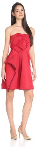 Halston Women's Strapless Dress with Colorblock and Bow Detail