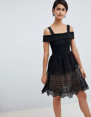 French Connection Amelia Lace Off Shoulder Dress