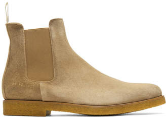 Common Projects Tan Waxed Suede Chelsea Boots
