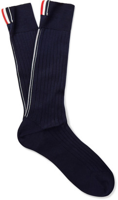 Thom Browne Ribbed Cotton Over-the-Calf Socks $125 thestylecure.com