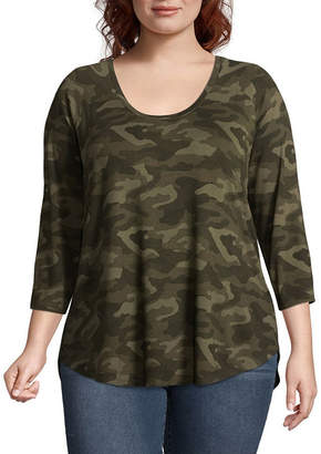 A.N.A 3/4 Sleeve Scoop Neck Camoflauge T-Shirt - Plus