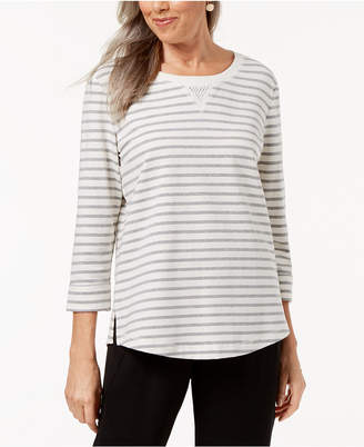 Karen Scott Striped French Terry Sweatshirt, Created for Macy's