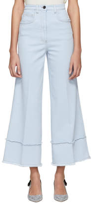 Miu Miu Blue Fringed Cropped Flare Jeans