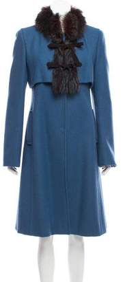 Philosophy di Alberta Ferretti Fur-Trimmed Virgin Wool Coat
