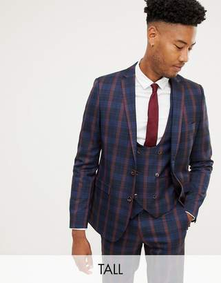1dcdd4ad4e34 Harry Brown Tall navy and burgundy check slim fit suit jacket