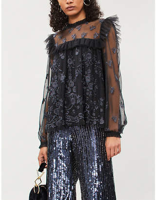 NEEDLE AND THREAD Lace Illusion embroidered tulle top