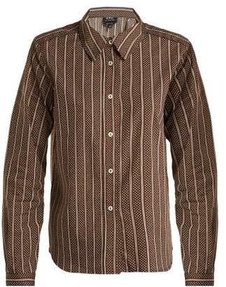 A.P.C. Mike Cotton And Silk Blend Shirt - Womens - Brown Stripe