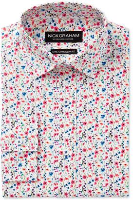 Nick Graham Men's Slim-Fit Stretch Easy-Care Multi Floral Print Dress Shirt