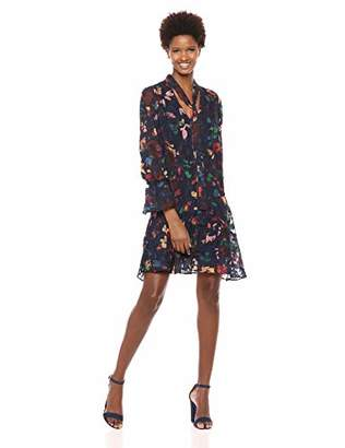 ECI New York Women's Floral Burnout Dress with Ruffle Cuff and Hem Details
