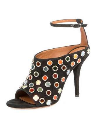 Givenchy Multicolor-Studded Suede Sandal, Black