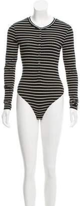 Privacy Please Striped Long Sleeve Bodysuit