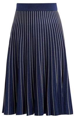 Jonathan Simkhai Mid Rise Pleated Midi Skirt - Womens - Navy Silver