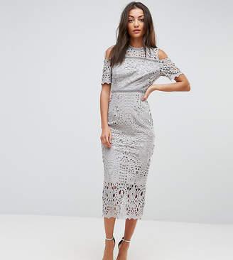 True Decadence Tall Premium Cutwork Lace Cold Shoulder Maxi Dress
