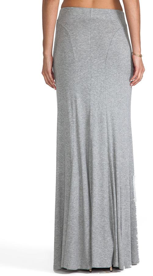 Heather Button Maxi Skirt