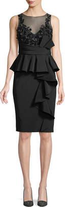 Marchesa Little Black Cocktail Dress w/ Asymmetric Ruffle Skirt