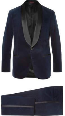 Brunello Cucinelli Midnight-Blue Satin-Trimmed Cotton-Velvet Tuxedo Jacket - Midnight blue