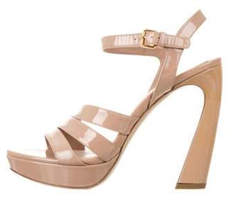 Miu Miu Patent Leather Platform Sandals Nude Patent Leather Platform Sandals