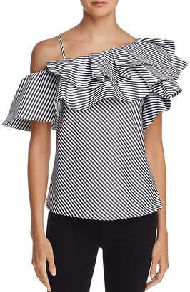 AQUA One-Shoulder Ruffled Striped Top - 100% Exclusive $58 thestylecure.com