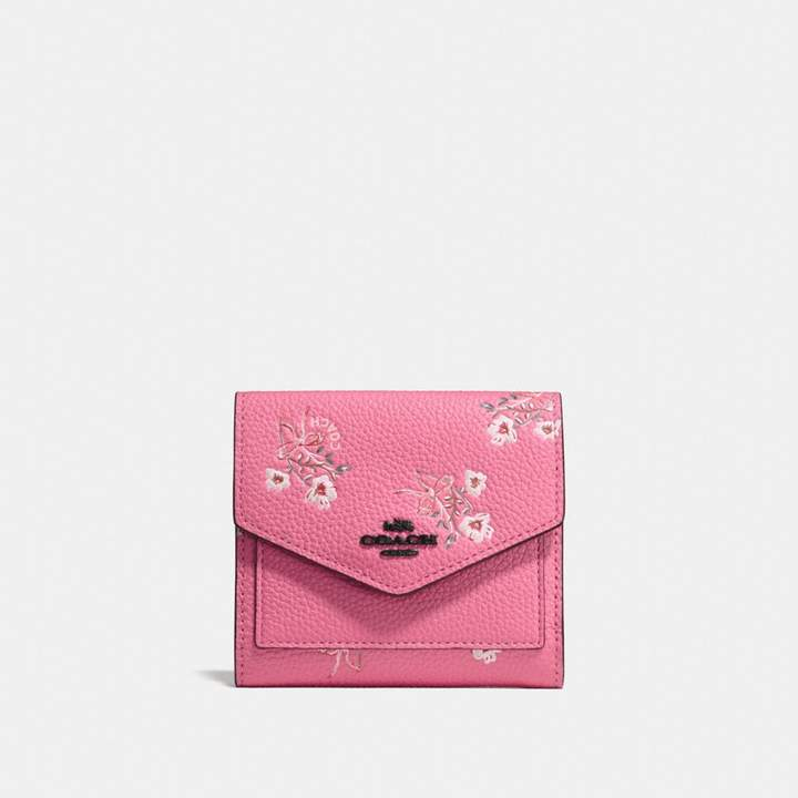 Coach New YorkCoach Small Wallet With Floral Bow Print - BRIGHT PINK/BLACK COPPER - STYLE