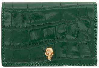 Alexander McQueen Green Croc Flap Card Holder