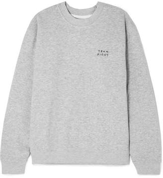 YEAH RIGHT NYC - Yeah Right Embroidered Cotton-blend Jersey Sweatshirt - Gray