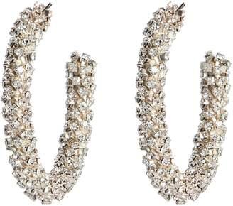 Oscar de la Renta Beaded Silver Hoop Earrings