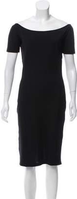 Rochas Off-The-Shoulder Wool Dress