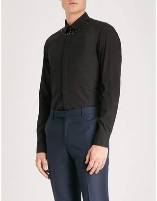Neil Barrett Studded-collar slim-fit stretch-cotton shirt