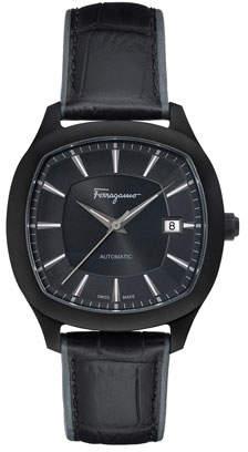 Salvatore Ferragamo Men's Automatic Octagonal Leather Watch, Black