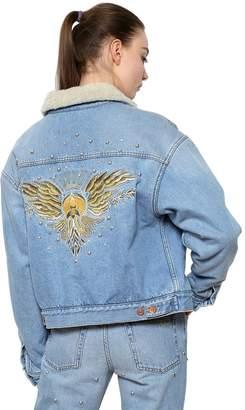 Etoile Isabel Marant Cotton Denim Jacket W/ Faux Shearling