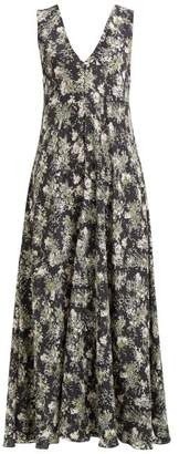 Raey Ditsy Floral Print Silk Dress - Womens - Black Print