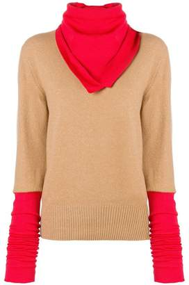 Joseph colour block sweater with scarf detail