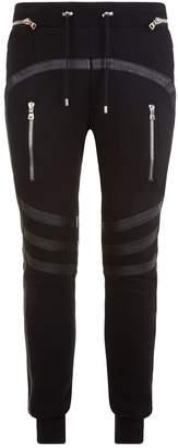 Balmain Leather Trim Sweatpants