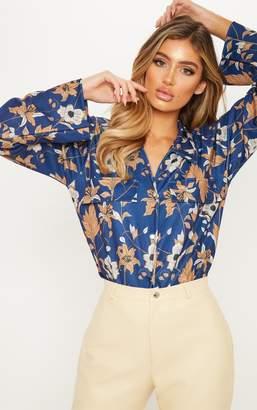 PrettyLittleThing Navy Floral Printed Crepe Pocket Detail Oversized Shirt