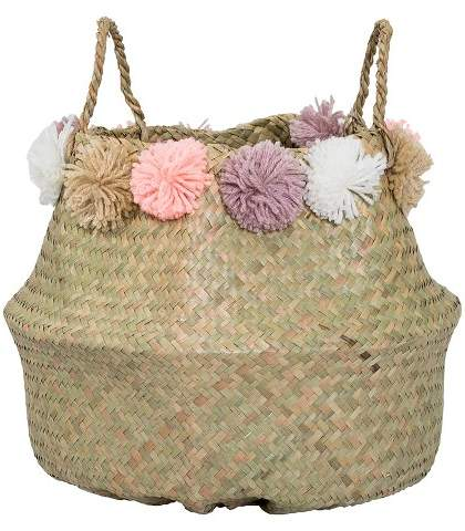 3R Studios Seagrass Basket With Wool Flowers (15
