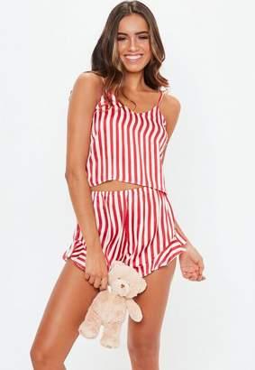 2b98793b4c Missguided Red Candy Stripe Cami Satin Pyjama Set