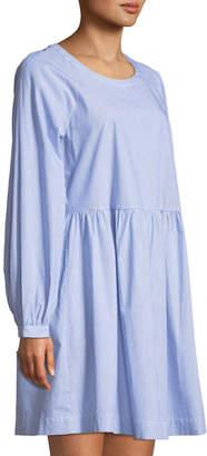 Pleione Ribbon-Tie Long-Sleeve Cotton Shirtdress
