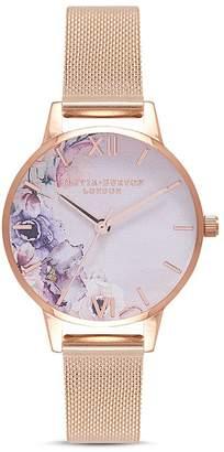 Olivia Burton Watercolour Floral Mesh Bracelet Watch, 30mm