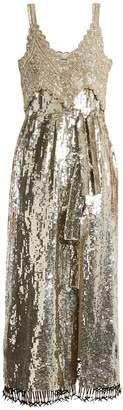 Elan sequin and bead-embellished silk dress