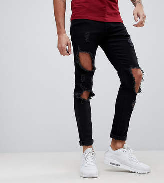Co Brooklyn Supply Brooklyn Supply Super Skinny Jeans With Heavy Distressing