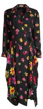 Escada Women's Floral Wrap Dress - Black - Size 34 (4)